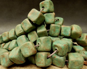 12 Large Hand made, roughly square stoneware pottery beads, clay beads, soft turquoise and copper stains. #3750