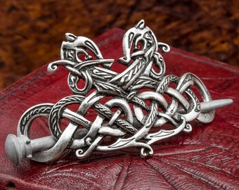 Norse Viking Celtic Jelling Style Double Dragon Hairpin Hair accessory