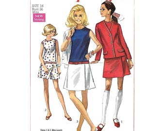 Vintage 60s Culotte Dress and Jacket Pattern Simplicity 8098 Drop Waist Dress Cardigan Panel Dress Womens Bust 36 Sewing Pattern