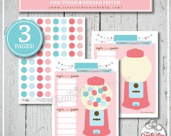 REWARD CHART   Gumball Reward Chart   Bubblegum Reward Chart   Children's Charts   Pink   Printable Charts   Girl's Reward Chart   Editable