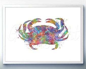 Crab Sea Animal Watercolor Art Print  - Watercolor Painting - Sea Life Watercolor Art Painting - Home Decor - House Warming Gift