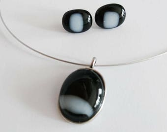 Black with white glass jewel-set-necklace and earrings-Jewellery sets-jewelry kit