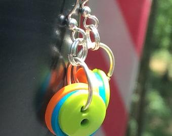 Button earrings, colorful button earrings, colorful earrings, button earrings