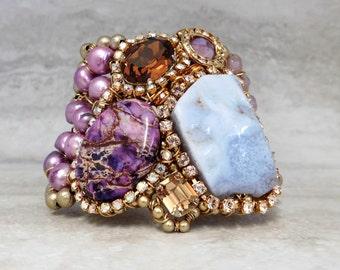 Purple Cuff - Unusual Asymmetrical Bracelet with Semi Precious Amethyst, Agate & Rhinestones Luxury Unique Gifts by Sharona Nissan