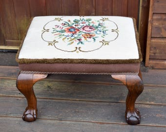 Vintage,embroidered,pouffe,pouffes,vintage pouffe,footstool,vintage foot stool,embroidery,carved wood,foot stool,furniture,wood stool,gift
