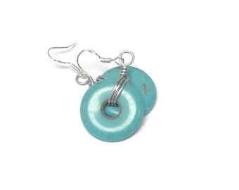 Wire Wrap Earrings/ Turquoise Donut Earrings/ Wire Wrap Turquoise Earrings/ Dangle Earrings/ Drop Earrings/ Wire Weave Earrings