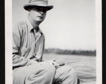 Vintage Snapshot Photo Shaded Face Man Fishing Off Boat 1950's, Original Found Photo, Vernacular Photography