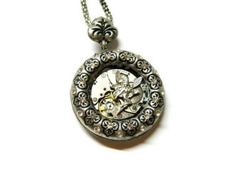 Steampunk Fairy Time jewelry silver colored pagan necklace, steam punk elf, stylized leaves from tree old clockwork, surprise gift for woman