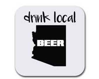 Arizona State Map Coaster Set - Drink Local - 6 Table Drink Coasters - Absorbent | Furniture Safe - Decor Gifts - Quality Neoprene