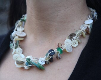 six strand // moss and sand // chunky necklace // multi strand // vintage buttons // hemp twine // eco gifts // gifts for her