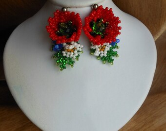 Beaded earrings flowers earrings Poppy earrings Red earrings beadwork earrings  Beaded jewelry Ukrainian jewelry  gift Seed beaded jewelry