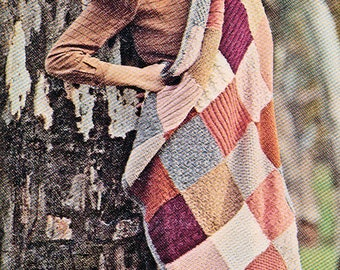 Vintage Knitted Picnic, Car or Lounging Rug PDF PATTERN DOWNLOAD