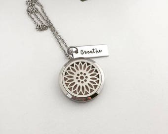Sunflower Diffuser Jewelry - Aromatherapy Necklace - Stainless Steel Essential Oil Diffuser Necklace - Personalized Aromatherapy - Breathe