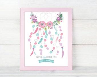 Dreamcatcher Thumbprint Guest Wall Art - Boho Baby Shower / Baby Shower Decor / Guestbook Wall Art / Fingerprint Art / dreamcatcher