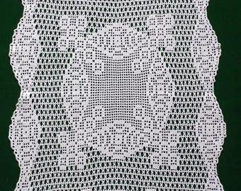 Vintage white hand Crocheted table runner filet crochet table topper small tablecloth