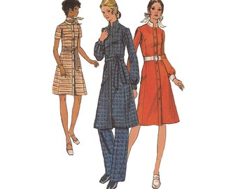 Womens A Line Dress with Pants Uncut Vintage 1970s Butterick Sewing Pattern 6151 Size 12 Bust 34 Stand Up Collar Princess Seams