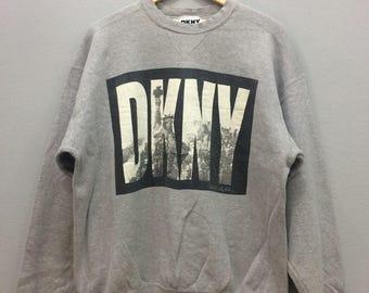 Vintage Donna Karan New York Sweatshirt Jumper Crewneck Pullover Big Logo Liberty Streetwear Casual Clothing Grey Color Large Size Unisex Ad Rn4Wbq3