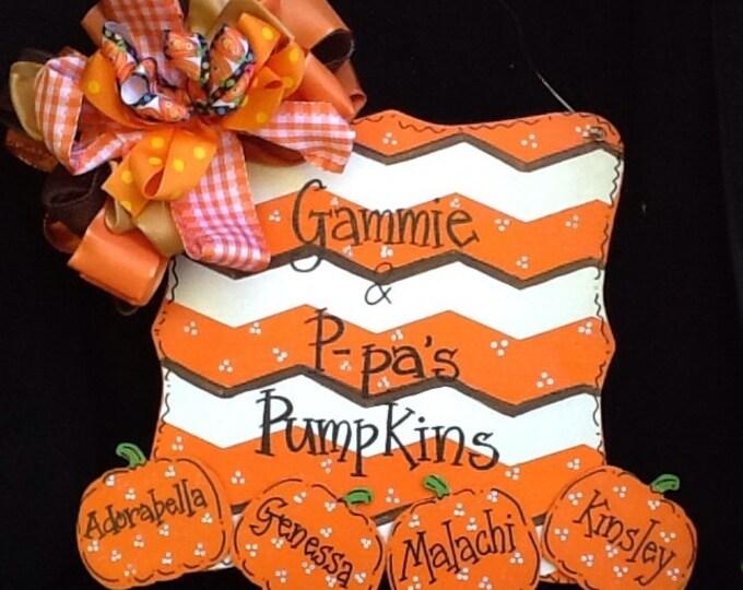 Pumpkin door sign, pumpkin door hanger, pumpkin sign, grandma's lil pumpkin sign, grandma's sign, happy fall sign, happy fall y'all sign,