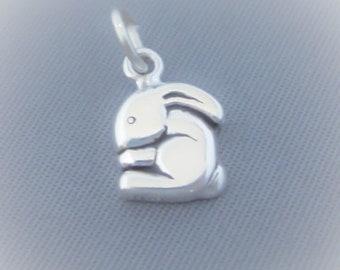 1 Sterling Silver Small Tiny Bunny Rabbit Charm, Mini, Made in USA