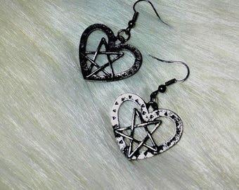 unholy love,Pentagram heart earrings