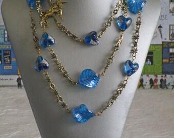 Ravissant collier sautoir gros connecteur et perles fantaisie turquoise et doré