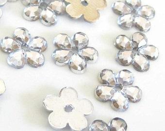 100 pcs Crystal Clear Floral Sew on Flatback Rhinestones - 1 hole