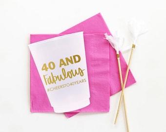 Personalized 40th Birthday Cups 40th Birthday Party Supplies 40 and Fabulous Party Cups 40th Birthday Party Ideas Custom Printed Plastic Cup