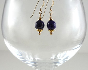Lapis Earrings Gemstone Earrings Cobalt Blue Earrings Blue Lapis Earrings Lapis Gold Earrings Lapis Drop Earrings Dark Blue Bead Earrings