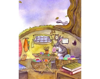 Easter Card, Easter Bunny Card, Easter Greeting Card, Watercolor Handmade Easter Card, 'The Master At Work'