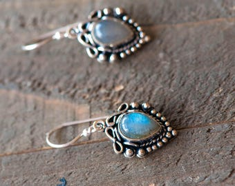 Labradorite Earrings, Gemstone Earrings ,Sterling Silver Labradorite Dangle Earrings, Labradorite Jewelry,Sterling Silver Drop Earrings,OOAK
