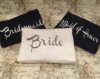 Customized Bridal Party shirt set | Wedding day shirt set | fully customizable bridal entourage shirt set