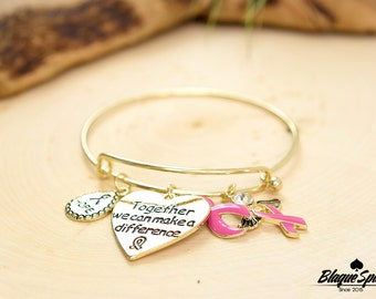 Breast Cancer Bangle Bracelet with Pink Ribbon Gold Charms