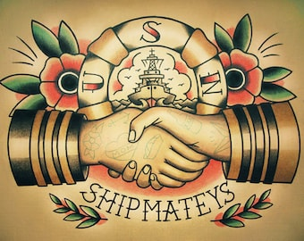 Sailor Handshake Traditional Tattoo Flash