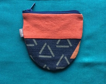 Blue and rust coin purse, small zippered bag