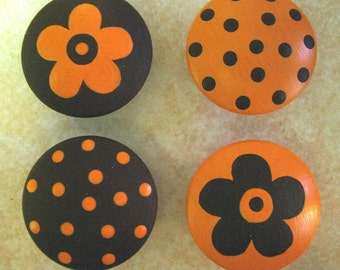 8 - ORANGE and BROWN - Polka Dots & Flowers - Drawer Knobs / Pulls