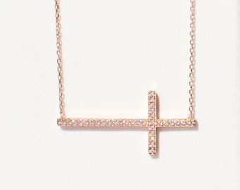 Cross Necklace for Women in Sweet Rose Gold Over Sterling Silver • It is a Large Gorgeous Cross Necklace that Grabs Everyone's Attention