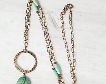 Copper Boho Necklace - Boho Chain Necklace - Copper Boho Jewelry - Boho Style Necklace - Copper Chain Necklace - Hammered Copper Necklace