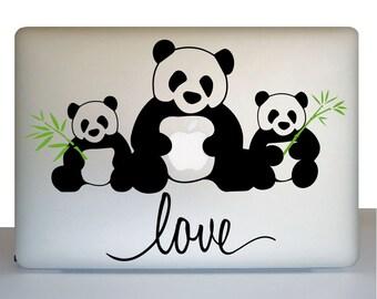 Panda Bear Macbook Decal, Love Decal, Panda Bear Macbook Sticker