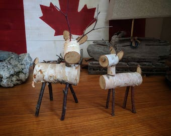 Set of 2 Small Birch Reindeer, festive decoration