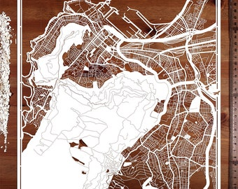 Paper cut map Cape Town 12×12 In. Paper Art  IDEAL GIFTS