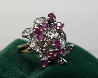 1940s Era 10K Yellow Gold & Palladium Ruby Diamond Ring