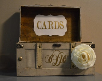 Medium Vintage Wedding Card Box Holder, Medium Rustic Wedding Card Box, Vintage Trunk Wedding Box with Custom Wedding Monogram A2A