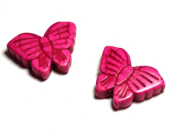 2PC - Butterfly pink 4558550021755 26mm synthetic Turquoise beads