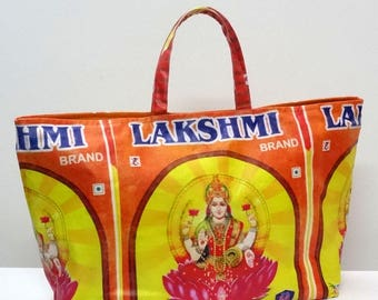 Maxi large bag with handles made of cotton canvas printed goddess Lakshmi