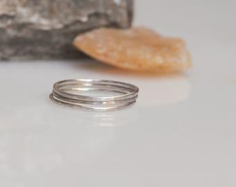 Sterling silver hammered stacking bands