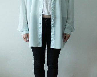 80s Vintage Button Up Blue Cyan Blouse with Floral Collar for Women
