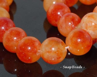 12mm Orange Tangerine Jade Gemstone Orange Round 12mm Loose Beads 6.5 inch Half Strand (90145808-433)