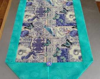 Birds and Butterflies Purple and Teal Table Runner
