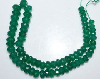 Natural Green Onyx Faceted Rondelle Beads 14 Inch Strand , Green Onyx Faceted Rondelle Beads , 7 - 10 mm - MC843