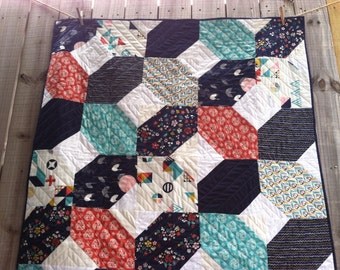 Reserved for Mariah - ORGANIC QUILT - Baby, Crib Quilt - Pure and Natural, Modern Baby Bedding - Cranes, Birds of a Feather TSURU Quilt